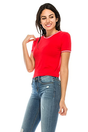 Classic Fit Ringer Tee - The Classic Women Short Sleeve Crew Neck Fitted Striped Crop Ringer Tee Shirt (Medium, Red)