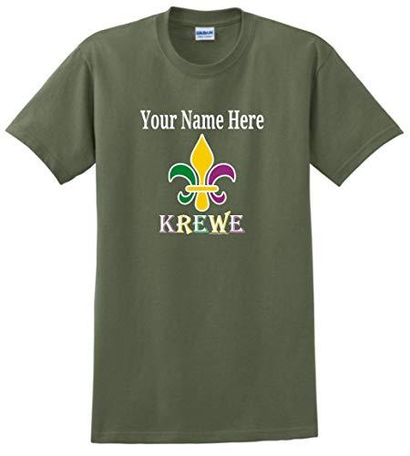 Krewe Fleur-de-LYS Punny MardiGras Top Mardi Gras Clothes Custom Name Fleur-de-lis Krewe Personalized T-Shirt Large Large Military Green