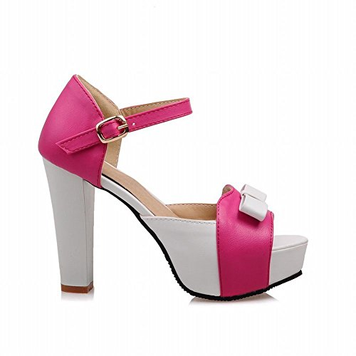Carolbar Women's Elegant Assorted Colors Super High Heel Bows Sandals Rose Red sfu74qY9Jb