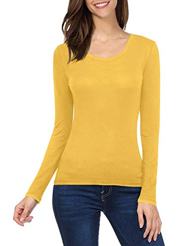 GUBUYI Women's Basic Solid Color Tee Breathable Soft Long Sleeve Cotton T-Shirt (Yellow/O-Neck,M)