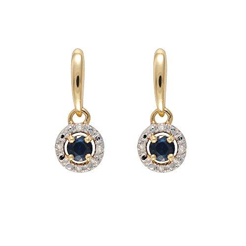 Ivy Gems femme  9carats (375/1000)  Or jaune|#Gold Rond   Bleu Saphir