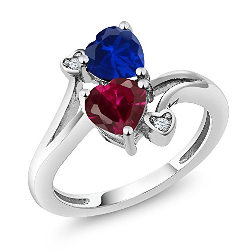 925 Sterling Silver Red Created Ruby and Blue Simulated Sapphire Women's Ring 1.79 Ctw (Size 7) by Gem Stone King