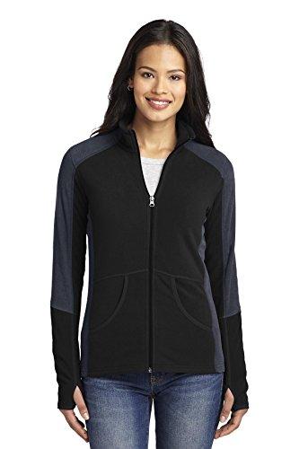 - Port Authority Women's Colorblock Microfleece Jacket S Black/Battleship Grey
