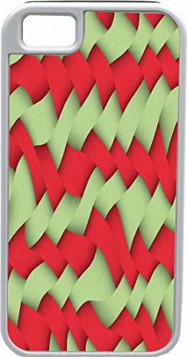 Rikki Knight White Tough-It Case for iPhone 4 & 4s (Double Layer Protection) - Green and Red Illusion Art Design