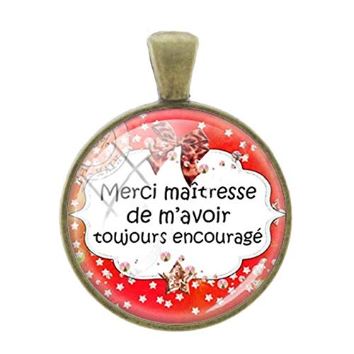 Cameo Gold Slide Bracelet (Pendants -1Pc Merci Maitresse French Letters Words Pendants Charms 25Mm Glass Bronze Plated Thanks Teachers Mother Gift Jewelry - CT305)