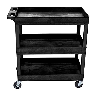 Offex 18 x 32 Inch Heavy Duty Utility Tub Cart with 3 Shelves, Black