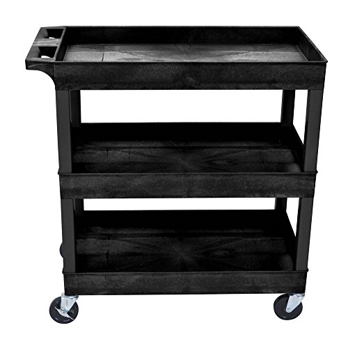 Luxor 32' x 18' Tub Storage Cart 3 Shelves - Black