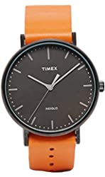 Timex #TW2P91400 Weekender Fairfield Black Dial Tan Brown Leather Band Analog Watch