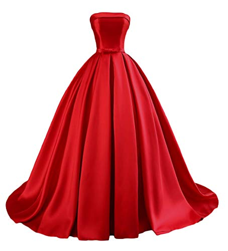 Dymaisei Women's Strapless Ball Gown Satin Prom Dresses 2019 Long Evening Formal Dresses US10 Red (Best Long Gown 2019)