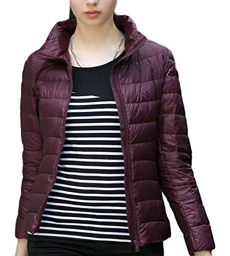 Padded Women's Coats Red Zip Down Winter Thick Parka Pockets Quilted Puffer AnyuA Wine Jackets fxqPwf