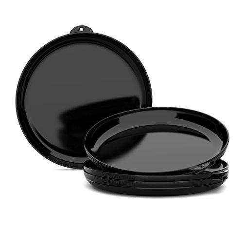 Caravan Set (WandsPro - ClipCroc Dish Set - 'Clip-Together' Dishes (pack of 4) – Perfect for BBQs, Camping, Caravans and picnics (Midnight Black))