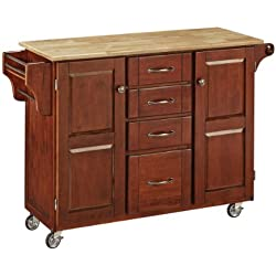 Home Styles 9100-1071 Create-a-Cart 9100 Series Cabinet Kitchen Cart with Natural Wood Top, Medium Cherry Finish