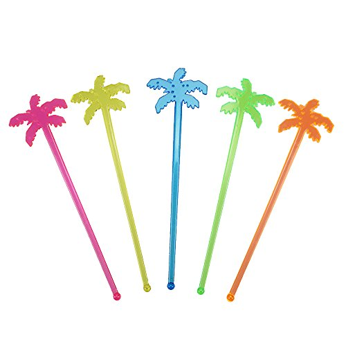 7 Inch Plastic Cocktail Ice Drink Swizzle Sticks Tropical Palm Tree Set of 50 by GOCROWN -