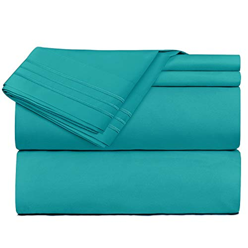 - Nestl Bedding 4 Piece Sheet Set - 1800 Deep Pocket Bed Sheet Set - Hotel Luxury Double Brushed Microfiber Sheets - Deep Pocket Fitted Sheet, Flat Sheet, Pillow Cases, King - Teal