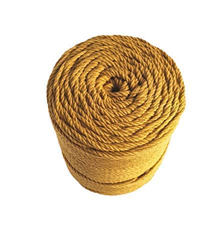 Macrame rope 3mm MUSTARD cotton rope 787 feet mustard macrame cord 262 yard cotton rope for macrame projects - Handmade Decorations Macrame Wall Hangings Plant Hanger Crocheting Bohemia DIY (3mm)