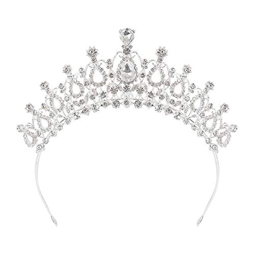 (Houseables Tiara Headband, Rhinestone Birthday Crown, 2.5 Inches Tall, 6.5