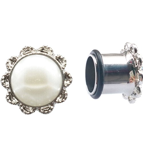 Pair of Stainless Steel Single Flare Ear tunnel Plugs with Pearl Body Piercing Jewelry (6mm 2g) (Wedding Gauges)
