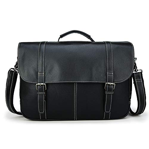 3ea3a5f2ad4fa Tiding Retro Men s Genuine Leather Laptop Messenger Bag 15.6 inch Office  Briefcase with Detachable Padded Laptop