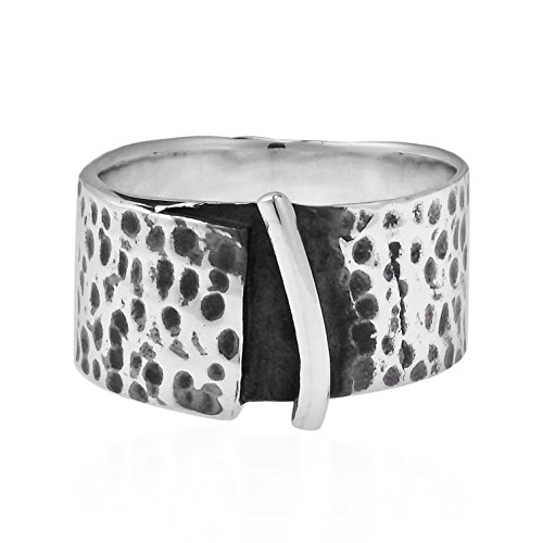 AeraVida Modern Rugged Hammered 10mm Wide Band .925 Sterling Silver Ring (8)