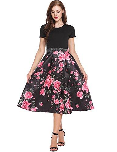 Cindere Années 1950 Patchwork Cru Rockabilly Manches Courtes Floral Balançoire Robe De Cocktail Décontracté Pour Les Femmes Noires