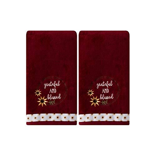 - SKL Home by Saturday Knight Ltd. Grateful And Blessed Hand Towel Set, Wine