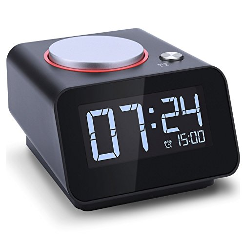 (Homtime C1mini-Black Alarm Clock with USB Charger, Dual USB Charging Port Compatible with iPhone and Android with Snooze Funtion and 4 Dimmable,Black (No Ac Adapter))