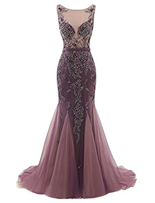 Erosebridal Long Beaded Bodice Prom Dress Evening Gowns Mermaid Party Dress For Wedding