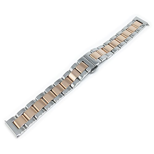 Fitian 16mm Stainless Steel Watch Band for Moto 360 2 (2nd Gen, Woman) Push-button Hidden Clasp Champagne Rose Gold Metal Silver Fit Other Smart Watches (Silver and Rose Gold)