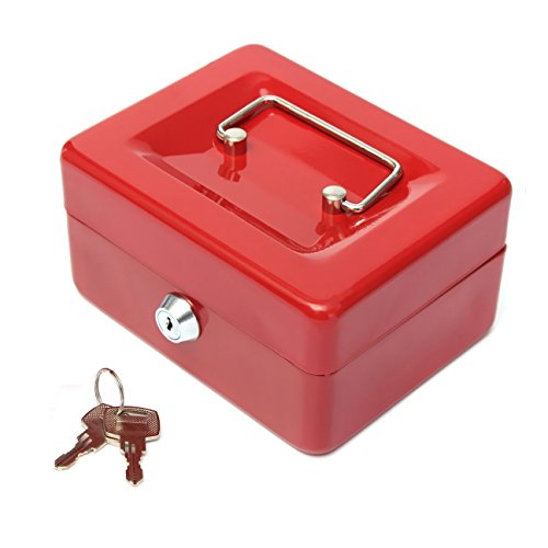 Greek Art Cash Box With Key Lock Strong and Sturdy Safe Box Cash Drawer With Removable Tray for Your Money, Petty Cash, Medication, Documents, Coins, Keys, Earrings, Little Necklace, M (Red)