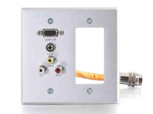 C2G 60042 RapidRun Double Gang Integrated VGA (HD15) with 3.5mm + RCA Audio/Video + Decora Style Cut-Out Wall Plate, Aluminum