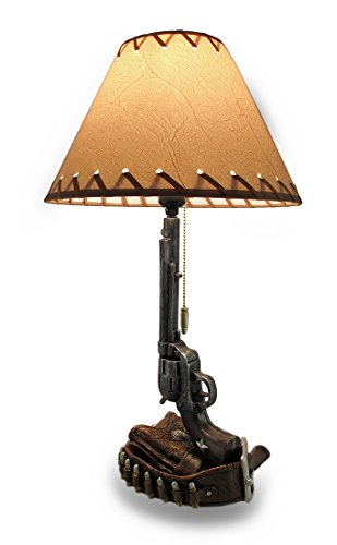 Old West Six Shooter Revolver and Holster Table Lamp -