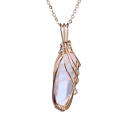 Gold Natural Stone Pendants - Bonnie Handmade Art Pendant Necklace Gold Wire Wrapped Rose Quartz Natural Stone Jewelry (Style 2)