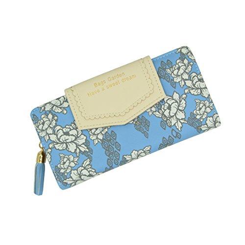 Style Ethnic Ladies Clutch Blue Bifold Pastoral Womens Leather Zipper Purse Gift Boxed Wallet Button Bag Handbag wqYnqpWg