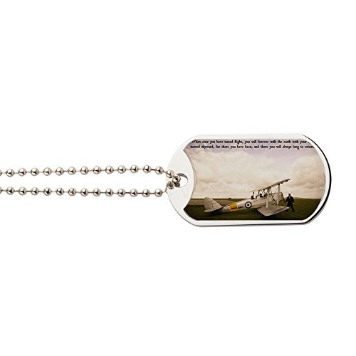 th Getting Ready To Fly - Military Style Dog Tag, Stainless Steel with Chain ()