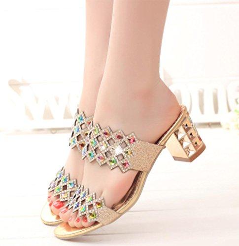 sandalias de verano puros rhinestone zapatos de las sandalias de las mujeres con gruesa Gold