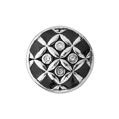 Quiges, Eligo Bijoux 18mm émail noir Symbole avec CZ Bouton Pression pour Quiges, Eligo 18mm accrochage Bracelets Button