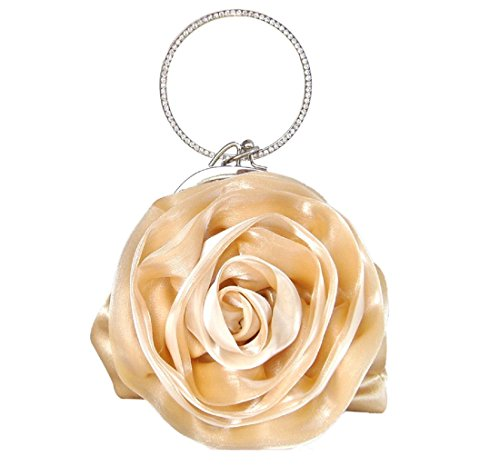 (Colory Women's Pretty Flower Bridal Mini Bag Satin Clutch Purse Beige)