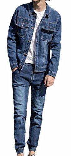 ONTBYB Men Classic 2 Piece Denim Jacket and Pants Set Outfit 1 XS