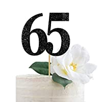 Black Glitter 65 Cake Topper, 65th Anniversary, Sixty Fifth Birthday, Sixty Five