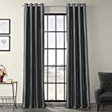 Half Price Drapes PTCH-BO005-96-GR Grommet Blackout Faux Silk Taffeta Curtain, Graphite