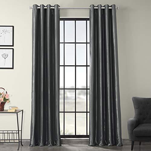 (Half Price Drapes PTCH-BO005-84-GR Grommet Blackout Faux Silk Taffeta Curtain, Graphite )