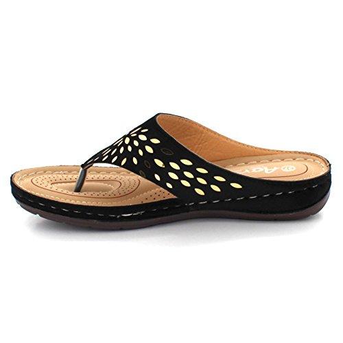 Chaussures Plat Noir Décontractée Dames léger Femmes Poids Toe Sandales Moyen Post Confort Talon Taille compensé Glisser sur w4qvqa6B
