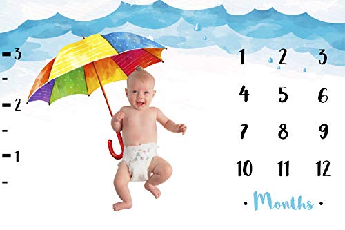 Baby Moon Monthly Milestone Blanket | Premium Soft Fleece Large 30 x 40 Inches Newborn Boy & Girl Photo Prop with Handcrafted Colorful Frame Sticks | Baby Shower Gift