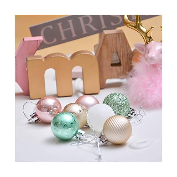 Valery Madelyn Palle di Natale 49 Pezzi 3 cm Palline di Natale, Elegante Palazzo Verde Menta e Oro Rosa Infrangibile Palla di Natale Ornamenti Decorazione per la Decorazione Dell'Albero di Natale 5 spesavip