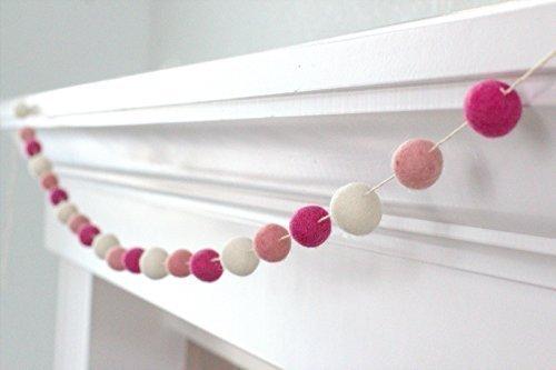 Valentine's Day Pink Felt Ball Garland- Berry, Blush & White -