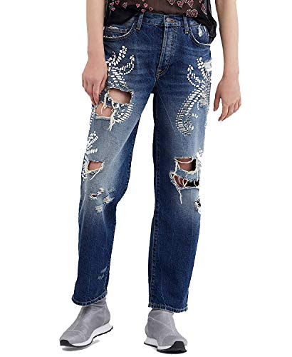 Free People Women's Cotton Embellished Ripped Jeans Blue 27