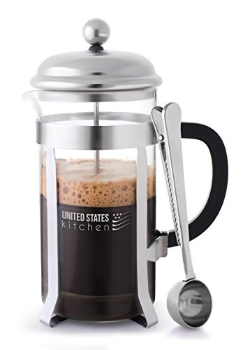 French Press Coffee Maker Chrome with Triple Stainless Steel Filters and 34 Oz, 8 cup Glass Carafe