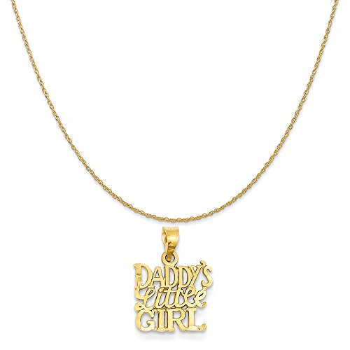 14k Yellow Gold Daddy's Little Girl Charm on a 14K Yellow Gold Rope Chain Necklace, 16