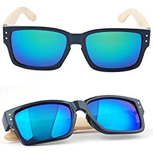 Dbzon Classic Look Bamboo Sunglasses by Bamboo Sunglasses for Men and Women, Wooden Sunglasses Arms w/Partial Plastic Frame   UV400 Rated Wood Frame Sunglasses; in Blue