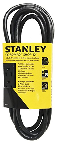 Stanley 31913 Cordmax Shop 12, 3-Oultet Grounded Extension Cord, Black,